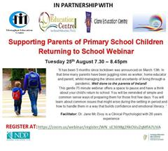Change of date for Webinar supporting parents of children returning to school