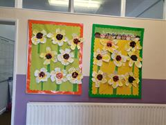 Junior Infants Hand Print Sunflowers